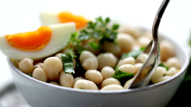beans salad, piyaz - silver platter stock videos and b-roll footage
