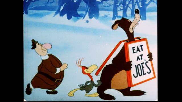 Bear eats pilgrim and turkey