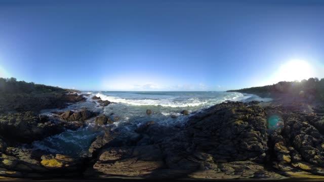 vídeos de stock e filmes b-roll de bear gully beach - panorama equiretangular