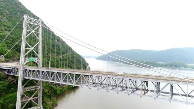 bear mountain bridge east tower close up - river hudson stock videos & royalty-free footage