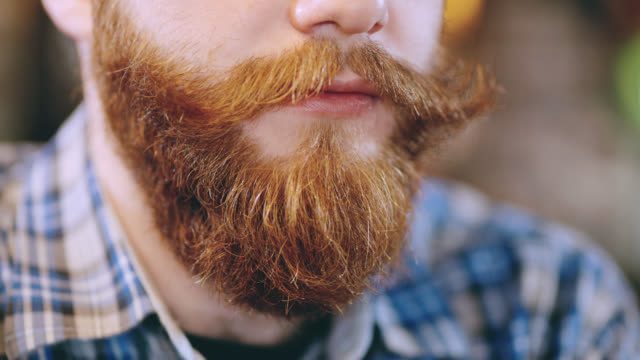 ecu beard of a hipster talking with someone - barba peluria del viso video stock e b–roll