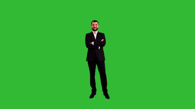 bearded businessman is smiling and looking directly at the camera on a green background - full stock videos & royalty-free footage