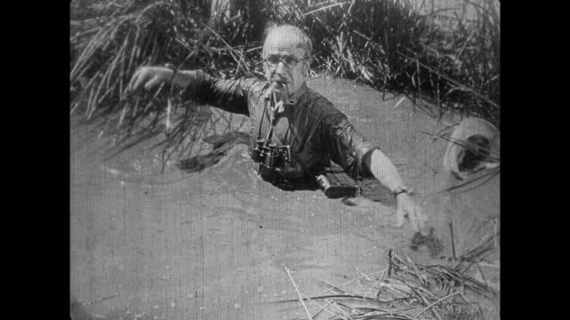 1925 bearded man catapults spectacled explorer into water - 1925 stock videos & royalty-free footage
