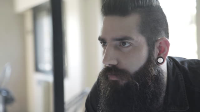 bearded mid adult man - one mid adult man only stock videos & royalty-free footage