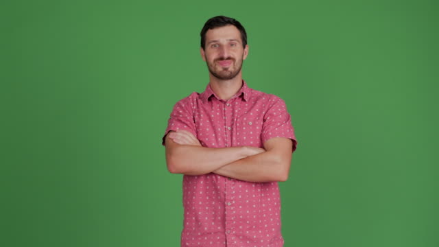bearded young adult man looks at camera, smiling, arms crossed on a green background - standing stock videos & royalty-free footage
