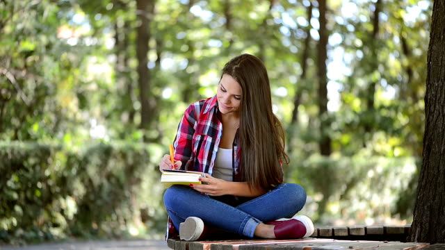 beatiful teenage girl studying in the park - diary stock videos & royalty-free footage