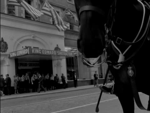 beatlemania - several shots from various angles of large crowd, of policemen, of placards bearing beatles pictures, policemen on horseback... - recreational horse riding stock videos & royalty-free footage
