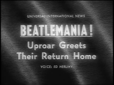 slate beatlemania uproar greets their return home / newsreel - 1964 stock-videos und b-roll-filmmaterial