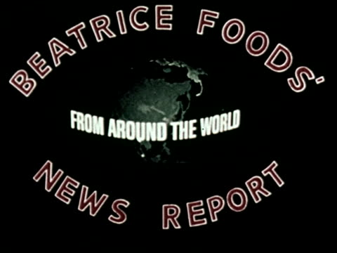 beatrice foods' news report from around the world - 1 of 21 - altri spezzoni di questa ripresa 2097 video stock e b–roll