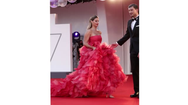 venice italy september 04 beatrice valli and marco fantini walk the red carpet ahead of the movie padrenostro at the 77th venice film festival at on... - gif stock videos & royalty-free footage