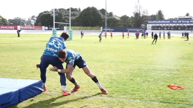 beauden barrett of the blues during a blues super rugby training session at blues hq on july 07 2020 in auckland new zealand - blues stock videos & royalty-free footage