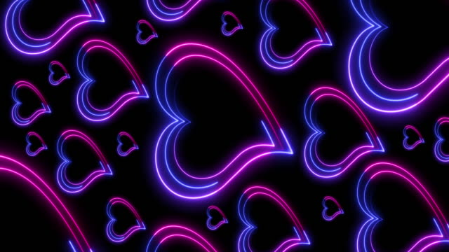 vídeos de stock e filmes b-roll de beautiful abstract creative neon background for romantic greeting card, wedding celebration, valentine's day, placed vertically for instagram. - eletrónica