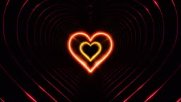 Beautiful Abstract Hearts Tunnel with Light Lines Moving Fast. Different Colors Rainbow. Flying Through the Neon Background Futuristic Tunnel. Looped 3d Animation.