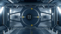 Beautiful Abstract Metal Gate Opening on Black Background. Futuristic 3d Animation with Green Screen. Steel Gateway in Spaceship with Alpha Mask. Futuristic Technology Concept.