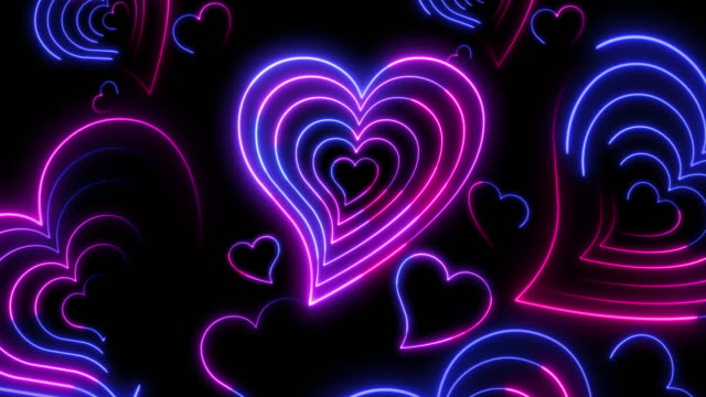 vídeos de stock e filmes b-roll de beautiful abstract neon heart background for romantic videos, wedding events and valentine's day. - eletrónica