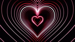 Beautiful Abstract Pink Hearts Tunnel with Light Lines Moving Fast. Set of Several Video Elements. Flying Through the Neon Background Futuristic Tunnel. Looped 3d Animation.