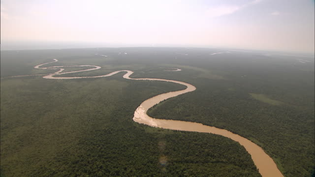 """Beautiful aerial shot of Malaysian rainforest, brown river snakes through"""