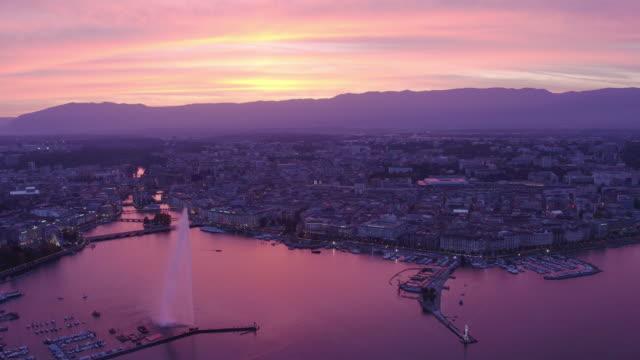 beautiful aerial shot of sunset geneva - switzerland stock videos & royalty-free footage
