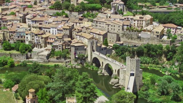 beautiful aerial video of besalu, catalunya, spain - medieval stock videos & royalty-free footage