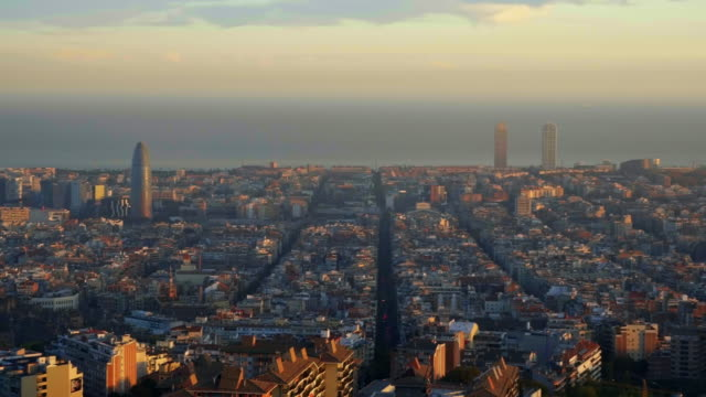 Beautiful aerial view of Barcelona cityscape at sunset