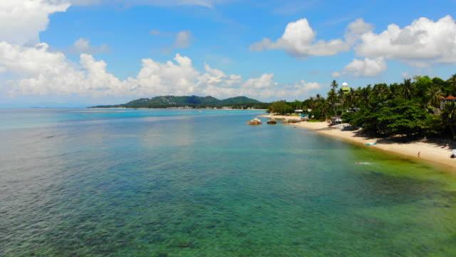 Beautiful Aerial view with beach and sea around coconut palm tree in koh samui island