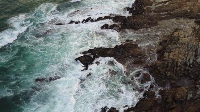 Beautiful African Coastline with waves crashing against rocks
