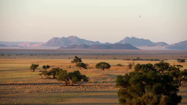 Beautiful African Savanna. Drone POV. Sunrise.