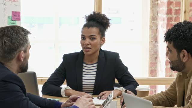 beautiful african-american woman leading business meeting - ペン点の映像素材/bロール