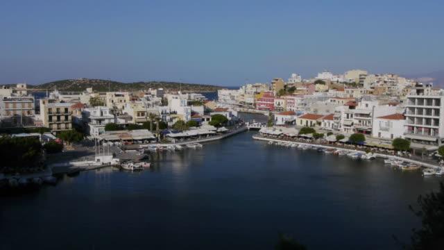 beautiful agios nikolaos in crete, greece. - marina stock videos & royalty-free footage