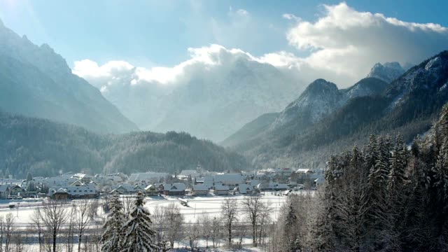 TIMELAPSE Beautiful alpine valley in winter