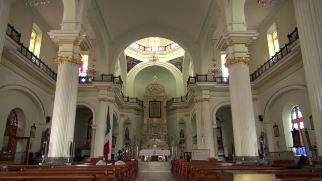 beautiful altar of cathedral of our lady of guadalupe - altar stock videos & royalty-free footage