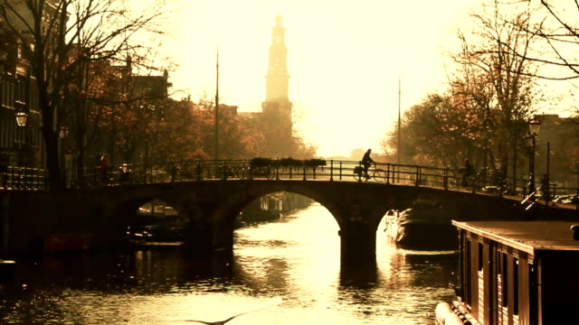 beautiful amsterdam canal scene - canal stock videos & royalty-free footage