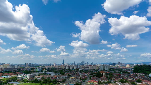 Beautiful and dramatic moving clouds over downtown Kuala Lumpur skyline