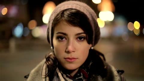 beautiful and sad young woman looking at camera - sadness stock videos & royalty-free footage