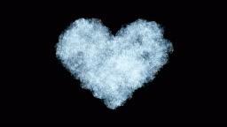 Beautiful Animation of Freezing Window forming Heart Shape. Alpha Mask. Freezing and Defrosting.