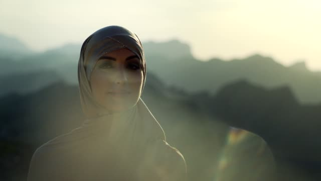 beautiful arab saudi woman face posing - islam stock videos & royalty-free footage