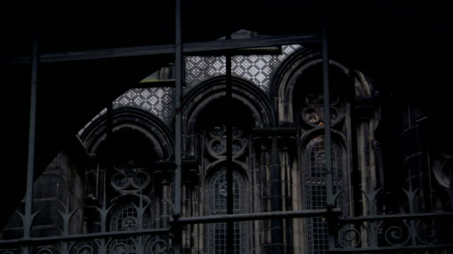 beautiful arches are present on the victorian-era manchester town hall in manchester, england. available in hd. - iron bars for windows stock videos & royalty-free footage