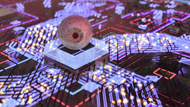 beautiful artificial intelligence eye reflex processing information - cerebral hemisphere stock videos & royalty-free footage