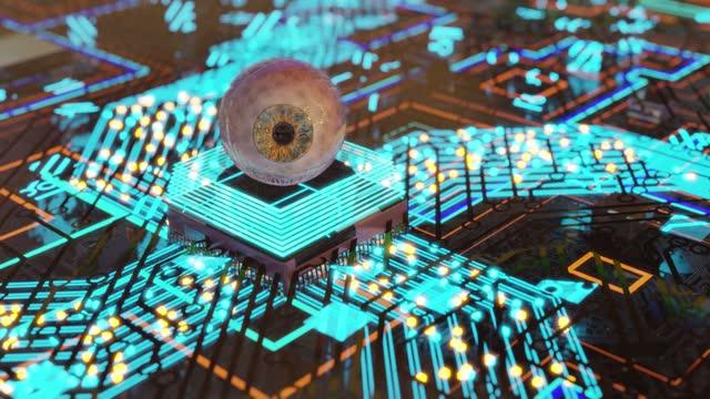 schöne künstliche intelligenz augenreflex-verarbeitungsinformationen - cerebellum stock-videos und b-roll-filmmaterial