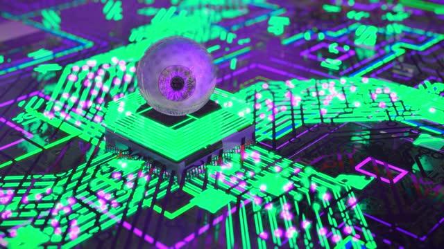 schöne künstliche intelligenz augenreflex verarbeitet informationen - cerebellum stock-videos und b-roll-filmmaterial