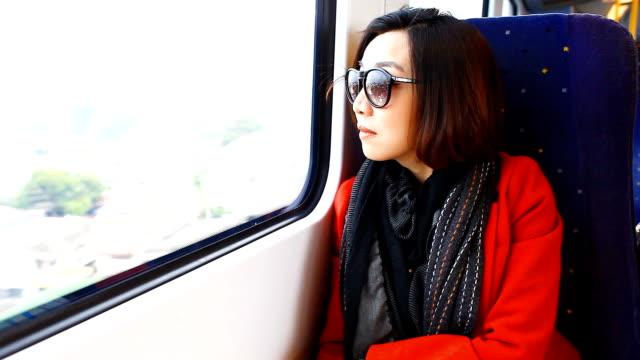 Belle femme asiatique au cours de son voyage en train.
