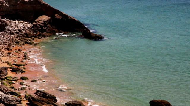 beautiful atlantic ocean gold sand cove - mar stock videos & royalty-free footage