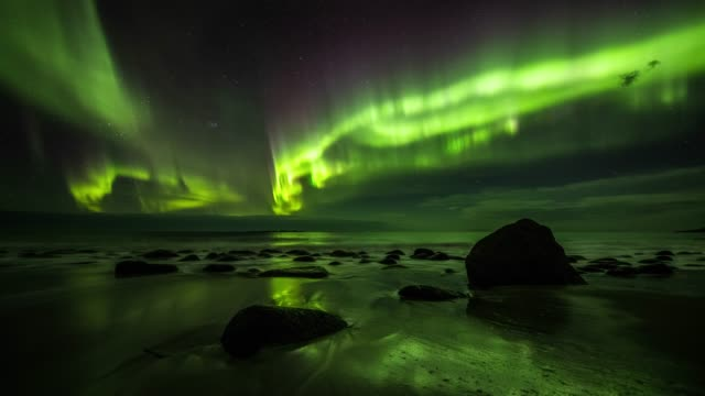 vídeos de stock e filmes b-roll de beautiful aurora borealis in norway - tracking shot - dolly shot