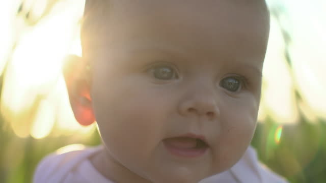 vidéos et rushes de sm ecu beautiful baby outdoors in the sunshine. - bébés filles