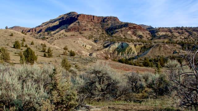 beautiful badlands john day fossil beds wide painted hills oregon 46 - 荒野点の映像素材/bロール