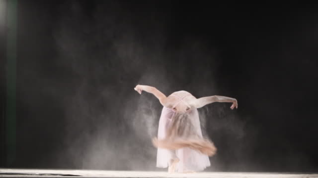 beautiful ballerina dancing in powder snow - ballet dancer stock videos & royalty-free footage