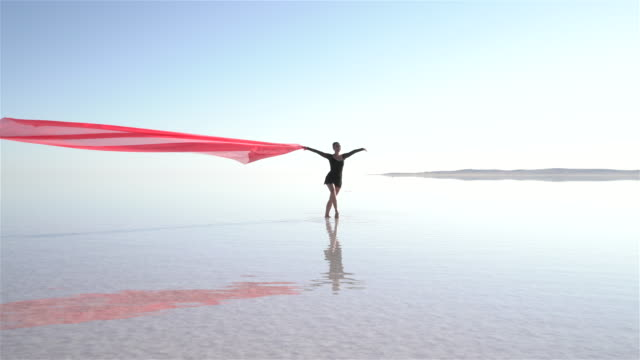 beautiful ballerina dancing on the lake with red tulles - ballet dancer stock videos and b-roll footage