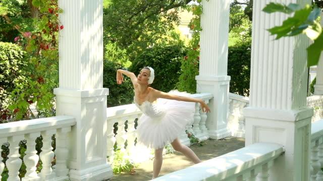 schöne ballett im gasse im park - ballerina stock-videos und b-roll-filmmaterial