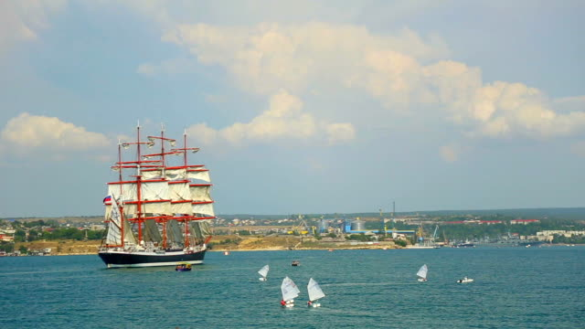 beautiful bark in sevastopol bay - sailing ship stock videos & royalty-free footage