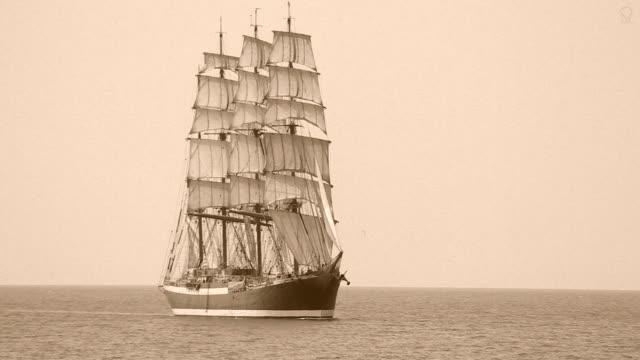 beautiful bark under full sail - ship stock videos & royalty-free footage